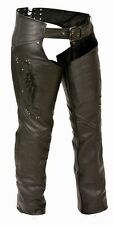 WOMEN'S MOTORCYCLE MOTORBIKE LEATHER CHAP BLACK EMBROIDERY REFLECTIVE BLACK NEW
