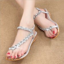 Womens Sandals Silver Diamond Wedding Party Sandal Shoes Low Heels Casual Shoe
