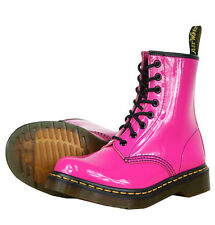 Dr Martens Boots - 1460 Patent Hot Pink Footwear - Shin Length Leather Shoes