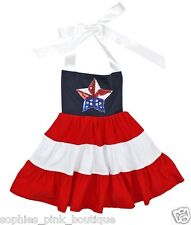 Toddler Girls Red White Blue Star Halter Summer Dress Outfit July 4th 4 fourth