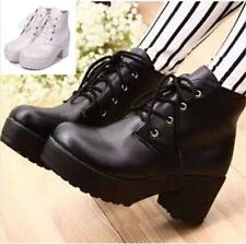 Newly Lady Chunky Platform Boots Mid Block Heel Ankle Women Casual Shoes Lace up
