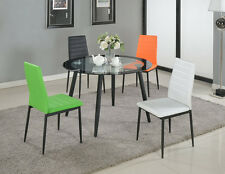 Brand New Set of 4 Pu Leather Dining Side Chairs, in Black/White/Green/Orange