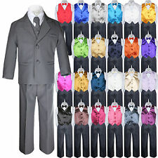 7pc Baby Toddler Kid Formal Wedding Tuxedo Boy Dark Gray Suit Vest Bow Tie S-7