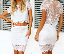 Womens Crop Top and Skirt Clothing set Sexy Two-piece Lace Bodycon Mini Dress