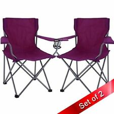 Outdoor Folding Camping Arm Chairs SET OF 2 Picnic Party Dining Camp Seat NEW