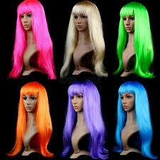 Multi-color Sexy Women Pop Long Straight Full Wigs Hair Cosplay Party Wigs Bangs