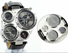 3 in 1 PU Leather Band Sport Wristwatch Compass Thermometer Quartz Watch for Men