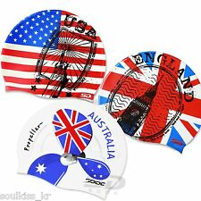 USA Australia England flag images Swim cap Silicone comfort Swimming Head Cap