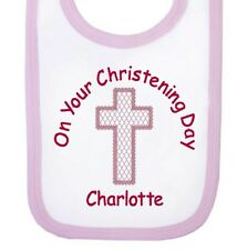 Personalised On Your Christening Day Girl Newborn Baby Bibs Embroidered Gifts