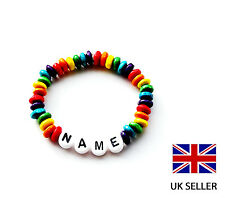 PERSONALISED CHILDRENS RAINBOW WOODEN BRACELET, PARTY BAG GIFT, ANY NAME, COLOUR
