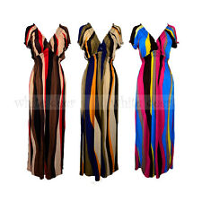 Women's Deep V Neck Maxi Long Full Length Sundress Dress Hawaiian Boho Striped
