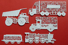 Tattered Lace 'Transport Vehicles' die-cuts on 300gsm white card