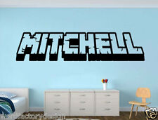 4' Gamer My Name decal Minecraft inspired name 3d looking Wall Vinyl Decal decor