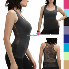 Hot Racer Back Tank Top w/Back Rose Floral Lace Cami Shirt Slimming Mesh T-Shirt