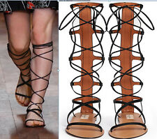 Women's Strappy Knee High Roman Gladiator Flat Sandals Boots