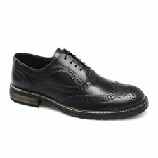 Red Tape BARROW Mens Leather Lace Up Brogue Wingtip Commando Formal Shoes Black