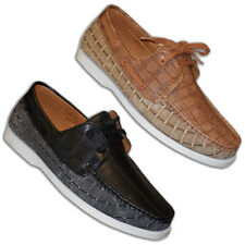 Mens Italian Loafers Driving Shoes Lace Up Faux Leather Casual Designer Shoes