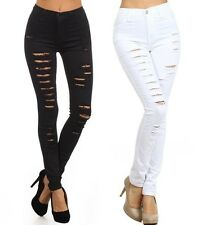 PLUS SIZE BLACK WHITE DENIM HIGH WAIST DISTRESSED RIPPED SKINNY LEG PANTS JEANS