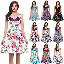 2015 NEW FLORAL CLASSIC 50's VICTORIAN VINTAGE ROCKABILLY STYLE FULL SKIRT DRESS