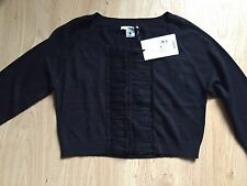 BNWT MATERNITY BLACK RUFFLE NURSING BREASTFEEDING CARDIGAN SIZE 16