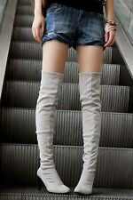 Womens Faux Suede High Stilettos Heel Over Knee Thigh High Leg Knee Boots