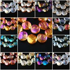 Pretty 20pcs Faceted Glass Crystal Twist Tile Beads Spacer Finding 18mm Charms