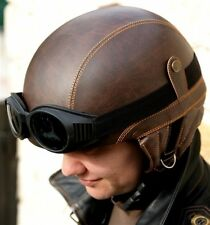 Helmet Motorcycle bike goggles eco leather vintage scooter Oldschool pilot