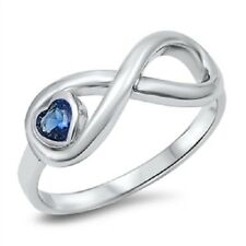 Blue Sapphire Heart Infinity Ring, 925 Sterling Silver, September Birthstone