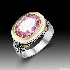 Vintage Beautiful Jewelry Pink Kunzite Quartz S80 Silver Ring size 789