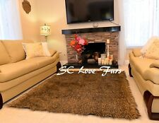 Gray Mountain Coyote Stripes Exotic Furry Area Rug Faux Fur Home Accents Decors