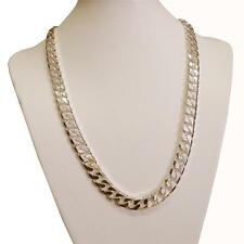 9K Gold Plated on Silver 11mm Wide Chunky Heavy Curb Link Chain & Bracelet