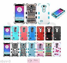 For LG LEON H320 C40 H340 H345 H326 Hybrid Tuf Rubber Hard Protective Case Cover