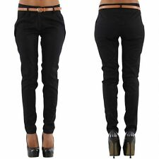 Women's Ladies Trousers Chino style office Black incl. Belt Sizes UK 8 10 12 14