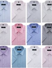 Men's Casual Formal Short Sleeve Dress Shirts SOLID STRIPES CHECKS