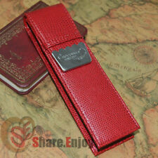 CROCODILE LUXURY RED ROLLER AND FOUNTAIN PENS CASE HOLDER FOR 2 PEN