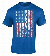 American Flag T-SHIRT Distressed patriotic tattered vintage USA flag men's tee