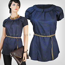 LADIES NAVY BLUE POLKA DOT SPOTTY TOP BLOUSE PETER PAN COLLAR BRAIDED BELT 8 14