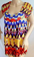 UNITY WOMEN PLUS SIZE 1X 2X 3X YELLOW RED BLUE TOP BLOUSE SHIRT TIE DYE CHEVRON