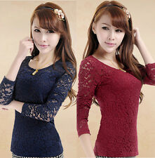 New Womens Ladies Lace Slim Tops Casual Blouse Long Sleeve T Shirt