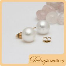 Brand New 9K Yellow Gold White Freshwater Pearl Stud Earrings Delny