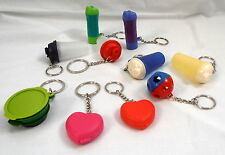 NEW TUPPERWARE KEYCHAINS LOT 2 (heart, flashlight, quick shake, shape o),