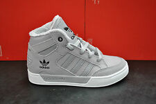 ADIDAS HARD COURT HI TOP CHILDRENS KIDS SPORTS TRAINERS FUR GREY WHITE M22205