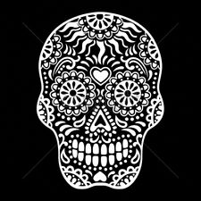 Floral Sugar Skull White Ink Day Of The Dead Dia De Los Muertes T-Shirt Tee