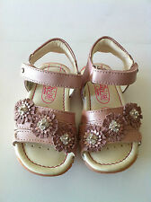 Primigi Dana Toddler Pink Pearlized Leather Sandal  Double Velcro Strap . NEW!