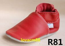 #R81 new red RUJI baby infant adult man soft leather crib shoe slipper indoor