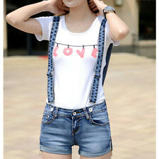 Womens ladys Jeans Shorts Hot Pants Suspenders Overalls Denim Lovely Zipper Side