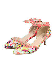 New Women Qupid Prance-12 Floral Pointy Spiked Ankle Strap d'Orsay Kitten Heel