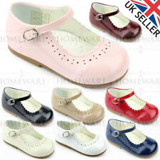 BABY GIRLS SPANISH STYLE PATENT SHOES MARY JANE PINK WHITE CAMEL RED UK SIZE 1-8