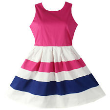 Girls Dresses Pink Striped Cotton Party Pageant School Uniform Children Clothing