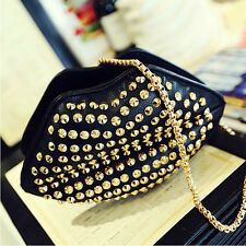 Fashion Womens Rivet Studded Lip Clutch Handbag Shoulder Chain Bag Satchel Purse